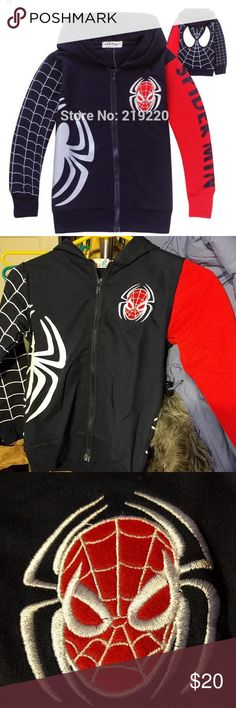Spiderman Hoodie High Quality Navy Spiderman shirt/jacket. Great for layering, just the right amount of extra warmth for those colder days or as a light jacket in warmer weather. Well constructed with spider applique and the rest is printed over fabric. Hood is single layer. Jackets & Coats