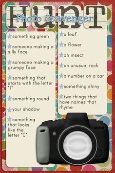 Sharing Photography with Kids - photo scavenger hunt-(Credits: Recipe Card template (rotated) from the Muffin Man set, paper from Heartfelt, alpha from Boo, star extracted from Sandbox swirl stamp, and camera by Heather Roselli) Photography Challenge, Photography Lessons, Photography Projects, Digital Photography, Children Photography, Photography Portraits, Inspiring Photography, Photography Tutorials, Creative Photography