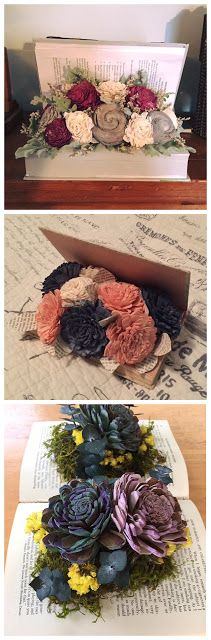 What an elegant way to display flowers in you home or at a special event.  Find an old book laying around or at a thrift store.  Just hot glue on some wood flowers and some filler or moss.
