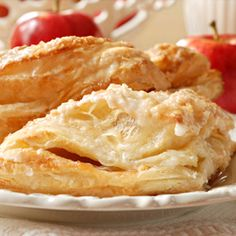 homemade apple turnovers  Ingredients: (2 1/4 cups) peeled cooking apples, diced (1 1/2 tsp.) lemon juice (1/4 cup) granulated sugar (1 Tbs.) all-purpose flour (1/2 tsp.) ground cinnamon (1/8 tsp.) salt (1/8 tsp.) ground nutmeg (10 sheets) frozen phyllo pastry, thawed Cooking spray