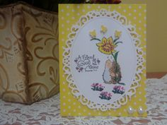 "Hedgehog holding daffodil with butterflies ""friend"" greeting card by LuvinItCREATIONS on Etsy"