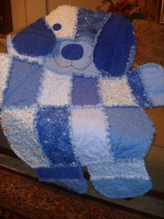 Puppy Dog Shape Baby Toddler Rag Quilt Blanket in Blue Tones