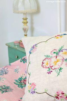 Vintage Home - Pretty Vintage Embroidered Pansies Cushion: www.vintage-home.co.uk