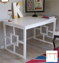 Katie (from matsutake) transformed a simple, unfinished pine table (INGO, $69.99) into a decorative yet functional desk. All it took was a few strips of wood to embellish sides, some diligent sanding to prepare the wood surface, and four coats of high-gloss paint to complete the look.