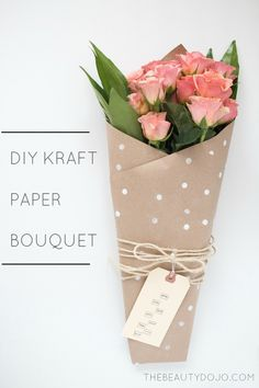 Diy Kraft Paper Bouquet. Make your own wrapped bouquets using simple kraft paper. The perfect gift for any occasion!