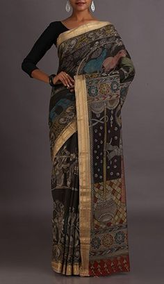 Seethe Epic Naturally Dyed And Hand-Painted Kalamkari Pure Cotton Saree