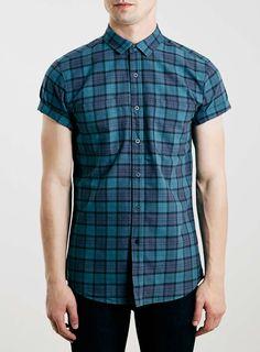 Green Tartan Short Sleeve Casual Shirt