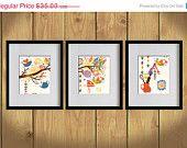 ON SALE Kitchen Art Print - Hanging Lovely Utensils, Kettle, Mixer  - Set of 3 - 8X10 - Orange, Gold, Blue, Trees, Birds, Floral - No. KB00