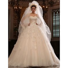 A-line Sweetheart Cathedral Train Tulle Satin Wedding Dress With Veil – USD $ 679.99