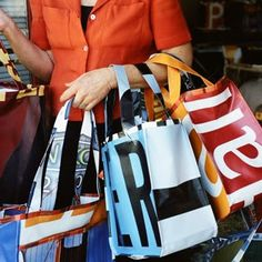 Elbow Grease Designs.  Bags made from recycled vinyl banners in  the S F Bay Area.