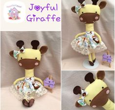Joyful Giraffe Doll Animal Soft Toy with Outfit Handmade to Order Dolls And Daydreams, Handmade Soft Toys, Felt Shoes, Dress Up Outfits, Small Baby, Softies, Baby Toys, Fabric Design, Giraffe