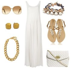 Summer Outfit Ideas - What to wear with a sleeveless white maxi Dress. Accessorized with chunky gold jewelry.