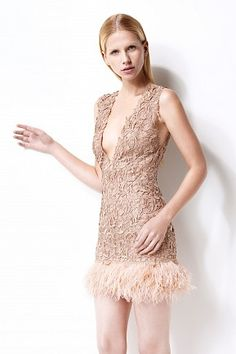 Gilia cocktail dress - silk organza - lace overlay - open back - ostrich feather trim - double lined #womenswear