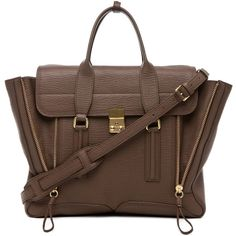 3.1 phillip lim Pashli Satchel in Taupe (2.940 BRL) ❤ liked on Polyvore featuring bags, handbags, taupe, brown purse, brown satchel, taupe handbag, brown satchel purse and hand bags