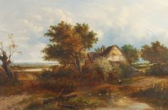 Joseph Thors 1843-1898 - A young boy fishing near a riverside cottage
