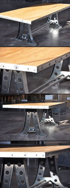 The A Frame dining table / desk. Shown with an oak top with a riveted edge. Designed and built by Vintage Industrial in Phoenix...