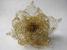 Gold knitted wire flower hair pin with Swarovski crystals by Wire Lotus