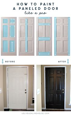 How to paint a paneled door like a pro: this simple technique is all you need to reduce paint streaks and get a high-impact finish — makes it so easy! via @uglyducklingDIY...