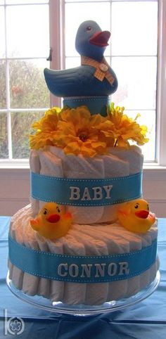 "Diaper ""cake"" from a Rubber Ducky Baby Shower #babyshower #diapercake"