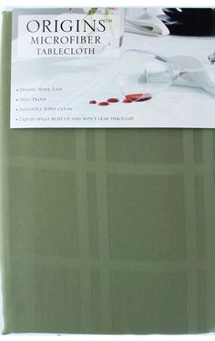 Origins 100% Microfiber Polyester Tablecloth in Light Green 60 inches x 120 i...  | eBay