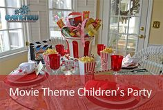 Between Naps on the Porch: Childrens Party Table for Movie Night Welcome to the Tablescape Thursday! Table Setting Design, Table Settings, Movie Night Party, Party Time, Movie Nights, Just Over The Top, New Year Table, Dinner And A Movie, Party Table Decorations