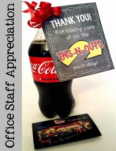 Office Staff Appreciation printable gift tags to use with or without an In-N-Out Burger gift card.