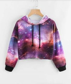 Galaxy Print Drawstring Crop Hoodie - Romwe Galaxy Print Drawstring Crop Hoodieone-size Source by - Crop Top Outfits, Cute Casual Outfits, Stylish Outfits, Teen Fashion Outfits, Outfits For Teens, Girl Outfits, Dress Outfits, Dresses, Gothic Fashion