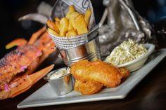 Fish N' Chips: Fish of the day, Alaskan Amber beer batter, house slaw, malt vinegar, fries.
