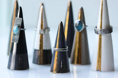 Ring cones are the perfect way to display those beautiful stacking rings! Handmade in Colorado by Bohemi using gold and silver glazes, an absolute charming way to organize your jewelry.