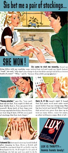 """Lux (1945), illustrated by Dal Holcomb - """"Sis bet me a pair of stockings...SHE WON!"""""""