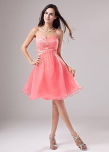 6b041544db6 Buy sweetheart organza beading mini length 16 birthday party dress in  watermelon from 16 birthaday party dresses collection