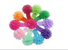 10PC/lot Girls Baby Newborn Chiffon Flower Toddler Hair Band Headbands Headwear #Unbranded