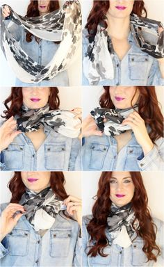 Simple ways to tie a scarf. Cute option for an infinity scarf.