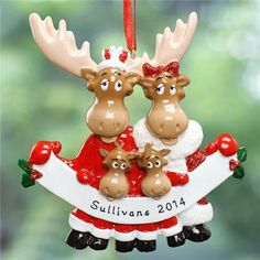 Moose Holiday Ornament | Moose Family Holiday Ornament