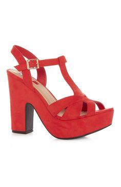 Red Platform T Bar Sandal