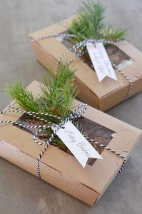 Kraft Box with Bakers Twine and Twigs, lamaisondouce.canalblog