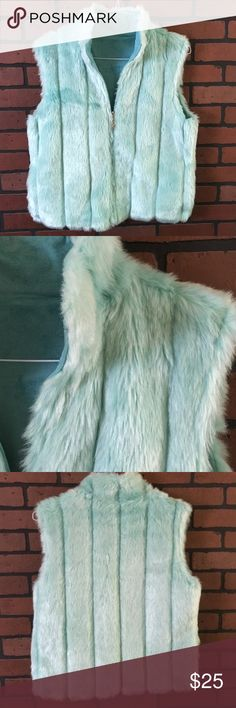 Isabella's journey faux fur vest  Material is 100% acrylic Color is teal blue Silver zipper pull  size is small/medium suede like lining Isabella's Journey Jackets & Coats Vests