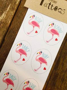 Flamingo Tattoos, Flamingo Party, Kids Party Bag Fillers, Personalized Tattoos, Flamingo Theme, Girls Party