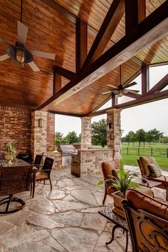 600sf patio addition to an existing traditional home. Use of stone for patio, benches and columns. Stained tongue & groove pine ceiling. Heavy timber beams. Lisa Piper Photography