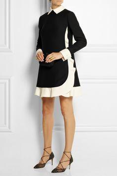 VALENTINO Two-tone wool and silk-blend crepe mini dress