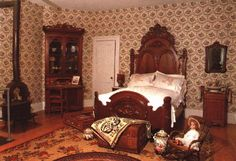 This is the Lincoln Bedroom in the Octagon House. It featured a Walnut . Antique Bedrooms, Octagon House, Victorian Houses, House Interiors, My Dream Home, Lincoln, Guest Room, Palace, Restoration
