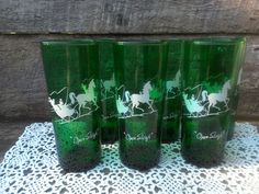 Set of 6 GREEN GLASS TUMBLERS Open Sleigh  by CottonCreekCottage