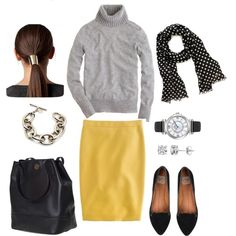 """""""Yellow and Gray"""" by bluehydrangea on Polyvore"""