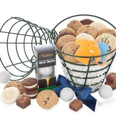 A unique gift for the Dad that LOVES golf! Our metal golf ball basket arrives filled with chocolate golf balls, snack size cookies and brownies, hand decorated crunchy shortbread golf bag and golf shirt cookies. Reusable basket stands 10.tall with handle. 25 pieces.