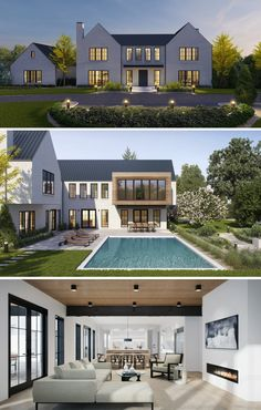 THE UP STUDIO // A white-brick, modern farmhouse on Long Island's north shore which was designed to capture natural light and stunning views. Contemporary Farmhouse Exterior, Farmhouse Architecture, Modern Farmhouse Design, Modern House Design, Architecture Design, Farmhouse Decor, Dream House Exterior, Exterior Design, Future House