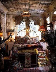 Bohemian gypsy bedroom created at the top of the house in that dark dingy space…