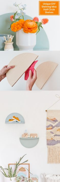 Continuing my obsession with DIY wood projects, I'm sharing this wood half circle DIY shelving idea that is a great beginners project for anyone wanting to dip their toes into the wood DIYs. Circle Shelf, Do It Yourself Decorating, Interior Design Advice, Unique Wall Decor, Half Circle, Diy Wood Projects, Diy Home Decor, Place Card Holders, Diy Crafts