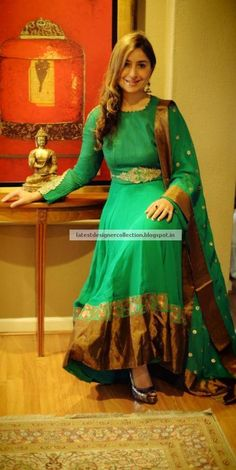 Jade Green and Gold Border Embroidered Churidar Kameez ~ Latest Indian Clothing And Jewellery Designs