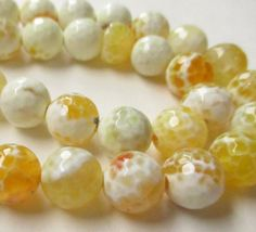 Yellow Round Agate Faceted Beads Mix Yellow White by BijiBijoux