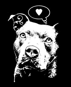 "He's so phenomenal. Brooklyn artist. I have one of his prints. >> ""Thoughtful Pit Bull Thinks Love"" T-Shirt by Dean Russo"